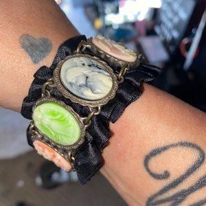 Angelic Cameo Black Ruffle Bracelet